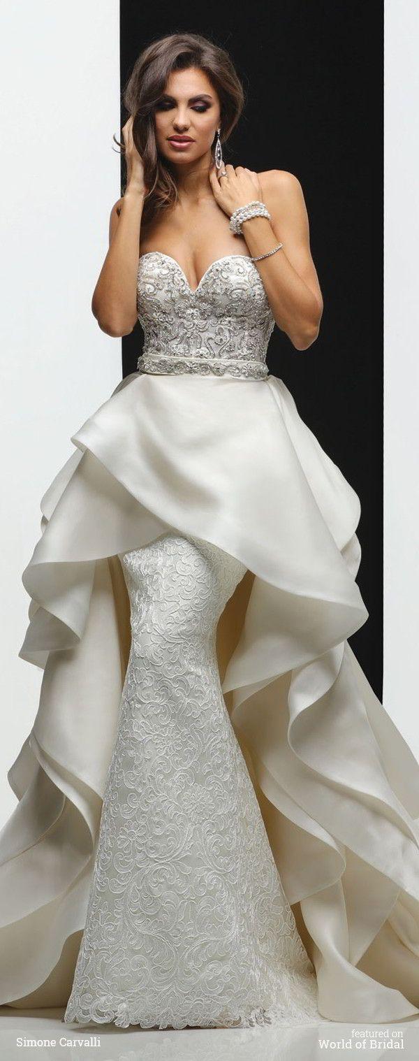 Strapless sweetheart neckline, beaded embroidery draped bodice sheath skirt with detachable wrap draped train.