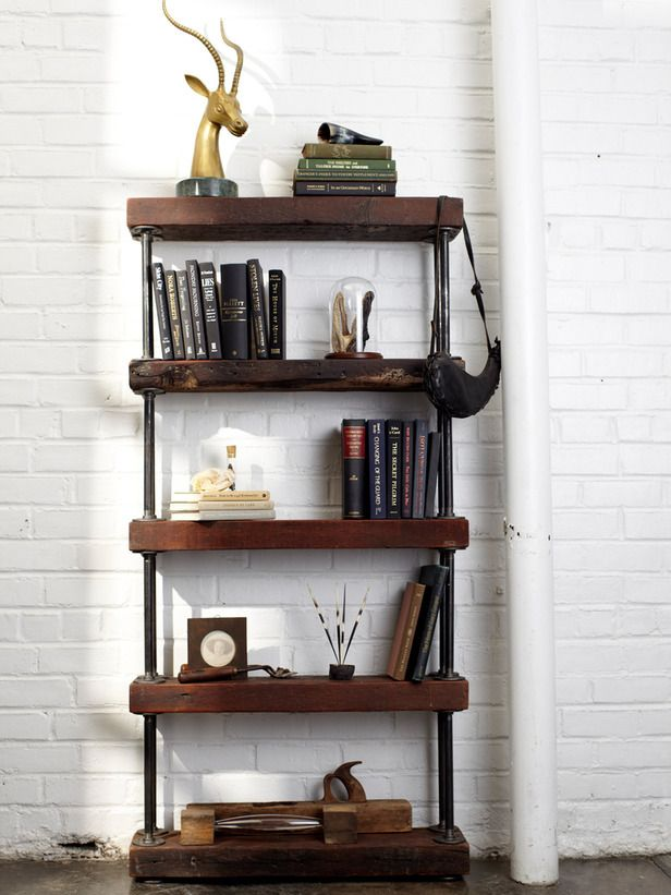 How to Make a Rustic Industrial Bookshelf: Industrial Rustic, Bookshelves, Ideas, Rustic Industrial, Wood, Diy'S, Diy Industrial, Rustic Bookshelf, Pipe