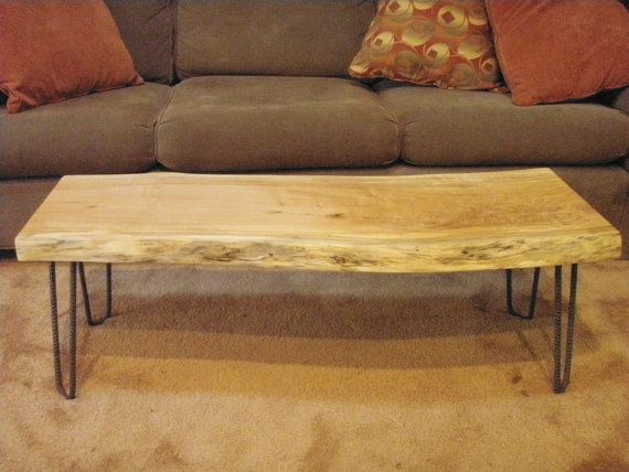 Maple Slab Coffee Table With Live Edge Re Bar Hairpin