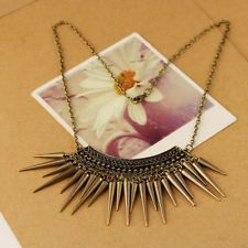New Arrival Copper Rivet Spike Retro Style Metal Bib Necklace Pendant