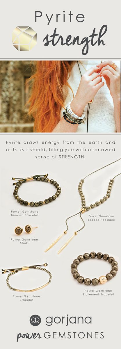 Discover all the gorjana Power Gemstone Pyrite for Strength Styles. Pyrite is the symbol of the sun. It protects against many forms of negative energy, bringing you strength, power and leadership.