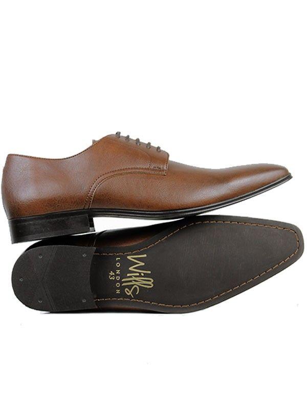 Vegan mens slim sole smart derby shoes in chestnut brown by Wills London