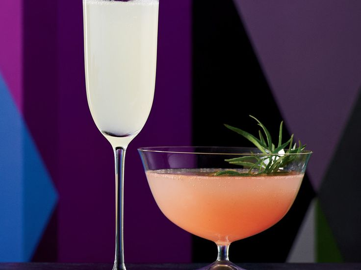 Luxury Peach 75 | Peach puree and fresh tarragon flavor this summery riff on the French 75. The cocktail is also terrific when made with fresh thyme.