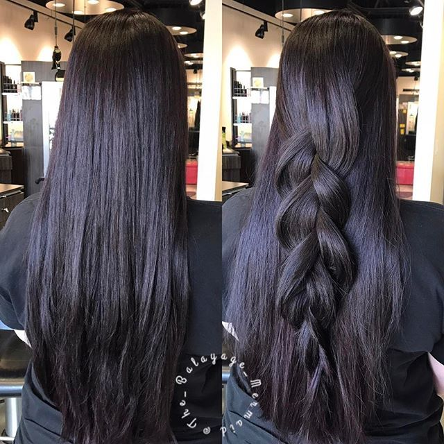 Straight or braid?? . All the chocolate with pops of cherry 🍒 🍫  Hair sectioned in two horizontally at the parietal ridge. Top half colored with Wella Color Touch 5/75 bottom done with 44/65 . Blown out with @randcohair Park Avenue Blowout Balm . . #formula #stylistssupportingstylists #wella #cincinnati #americansalon #cincinnatihair #braid #longhair #brunette #randco #blowout #healthyhair #chocolatehair #redhair #behindthechair #modernsalon