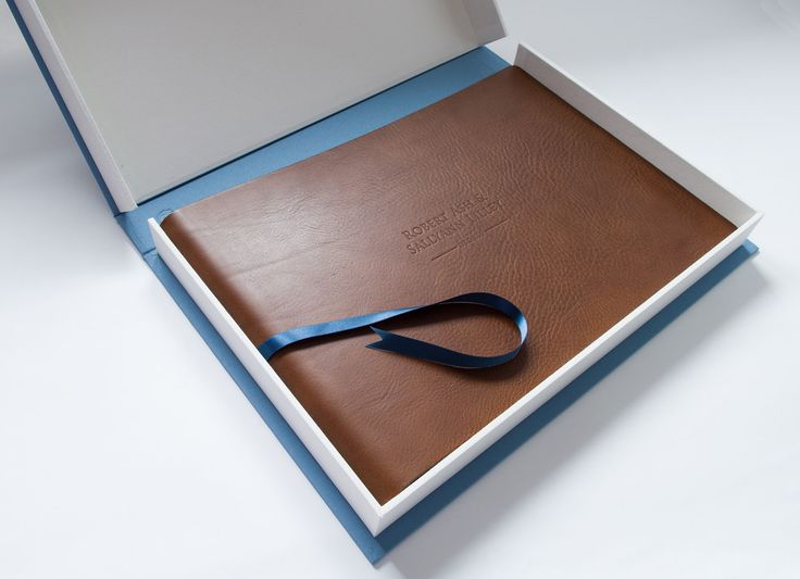 Bespoke brown veg tanned leather wedding album and clamshell storage box.