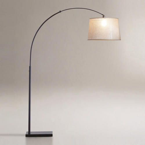 One of my favorite discoveries at WorldMarket.com: Loden Arc Floor Lamp Base    Dan - this is unavailable online but I could check Des moines for you. Great Deal. Target has one too but this one's better. I bet Lowes has one too. Let me know if you want me to check. I still like the tripod lamps better but if you need lite in that corner you might have to do this.