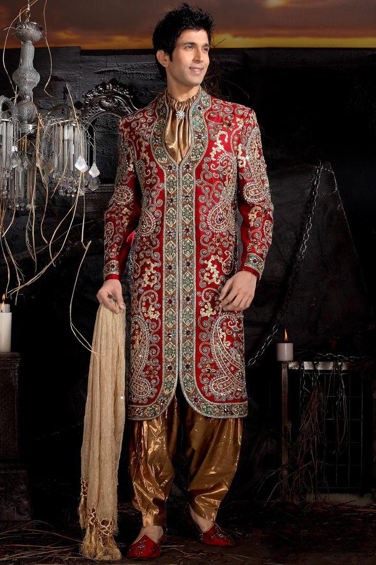 Red v neck sherwani groom dresses pinterest sherwani for Indian wedding dresses men