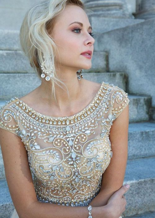 Silver Gold Jeweled Bodice Long Nude Prom Dress Hot Trends