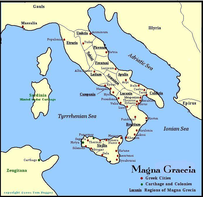 Magna Grecia era el nombre utilizado por los romanos para designar a las ciudades griegas (polis) ubicadas en la zona sur de la península itálica y Sicilia. Originalmente, Magna Graecia fue el nombre usado por los romanos para describir el área alrededor de la antigua colonia griega de Graia. Más tarde, por extensión, el área entera de colonización griega en la península italiana y Sicilia fue conocida por este nombre.