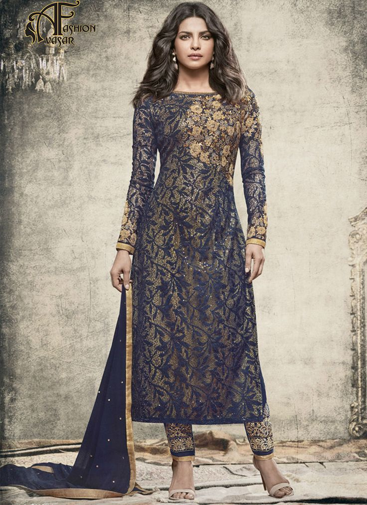Priyanka Chopra Blue Salwar.An superb Navy Blue Georgette Unstitched Salwar Kameez will make you look extremely stylish and graceful. The lovely Lace