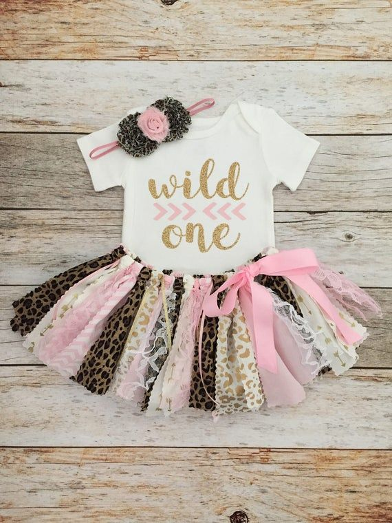 Safari Birthday Outfit with Headband, Pink and Gold Wild One Leopard Safari Birthday Outfit, Animal