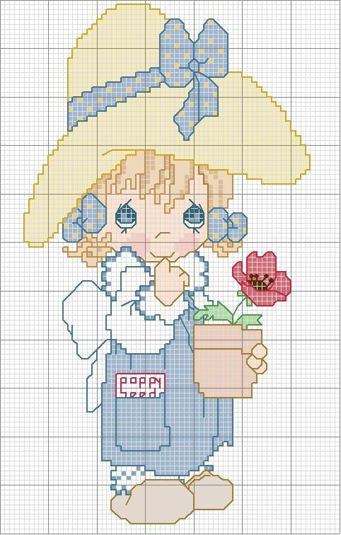 Schema punto croce Bambina-con-papavero