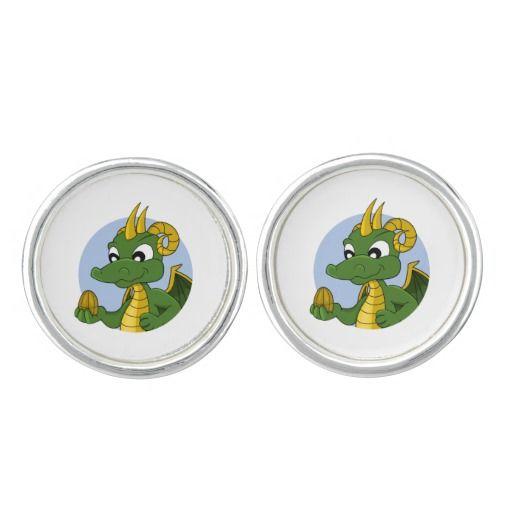 Cartoon dragon cufflinks