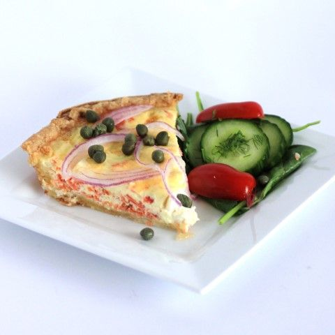 Smoked Salmon and Cream Cheese Quiche for Canada Day