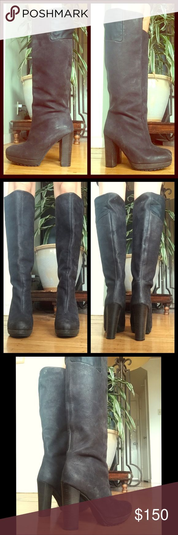 G-Star Raw Leather Knee High Heel Boots 37 These boots are unique astoundingly well made and sexy for Fall and winter nights! Made in Romania. Excellent Used condition with minimal scuffs and wear. I can't find them anywhere on the internet so I don't have much more detail to give. Will post measurements soon. Charcoal color. G-Star Shoes Heeled Boots