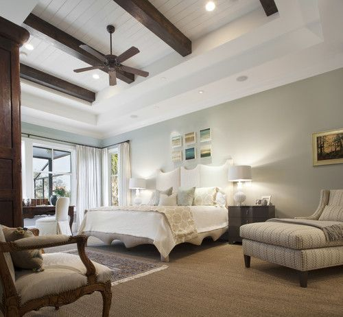 wall color, coffered ceiling with planks and beams, Amanda Webster Design, Jacksonville, FL