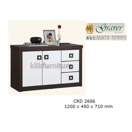 Harga CRD 2686 Graver Anata Condition:  New product  Meja Tv / Bufet Pendek ANATA Series Graver  bahan particle board ukuran 1200 x 450 x 710 mm