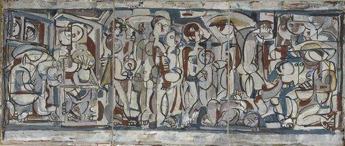 'Anak Bayan' (1957) by Scottish-born Australian artist Ian Fairweather (1891-1974). Gouache on cardboard on hardboard, 96.8 x 227.3 cm. via Art Gallery NSW