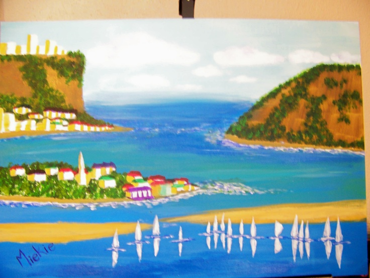 Home shores.  This painting is of the cliffs at Knysna in South Africa's Western Cape.  The picture has been idealised and the colours made brighter and friendlier than you would find in reality, but this is merely an attempt to capture the spirit of lighthearted simplicity that seems to govern our vacations.  I truly loved the outcome and was a little sad to part with it, but it is going to a good home ;-)  Water colours and gauche on canvas board.  421 x 596 mm