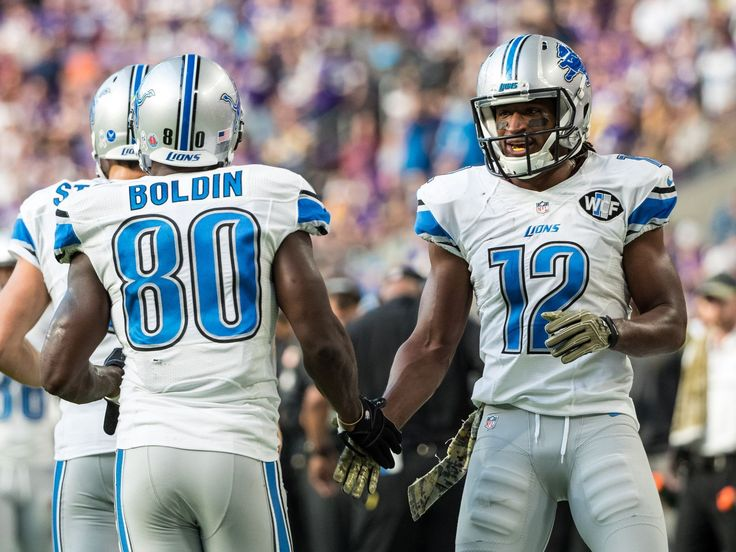 Lions vs. Vikings:  22-16, Lions  -  November 6, 2016  -    Nov 6, 2016; Minneapolis, MN, USA; Lions receiver Anquan Boldin celebrates his touchdown with Andre Roberts during the second quarter against the Minnesota Vikings at U.S. Bank Stadium.  Brace Hemmelgarn, USA TODAY Sports