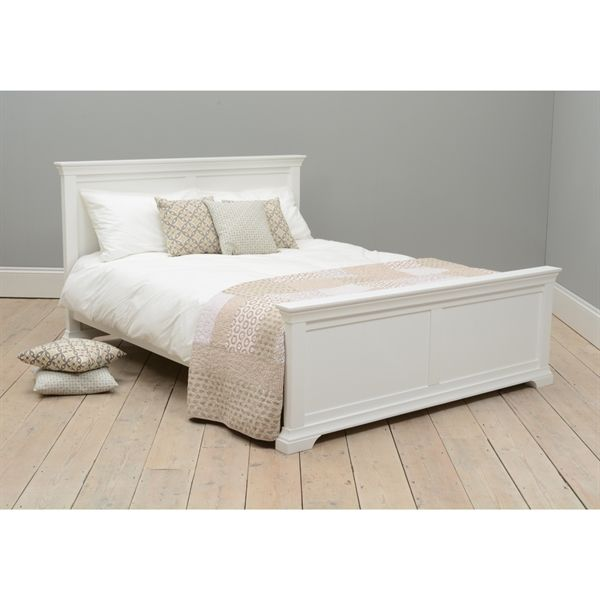 Grey Wooden Double Bed Part - 27: Chantilly White 4ft 6 Double Bed
