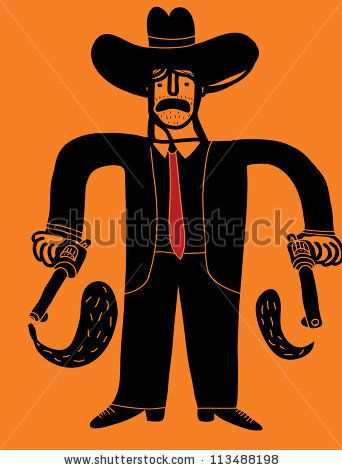 cowboy businessman with two guns by Complot, via ShutterStock