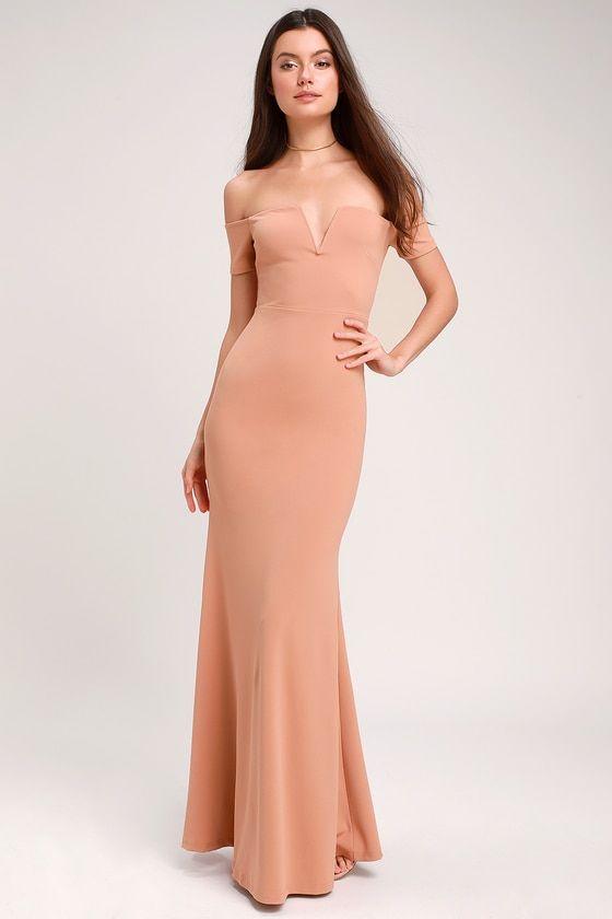 378d9a095af9 Lynne Nude Off-the-Shoulder Maxi Dress in 2019   clothing: Dresses ...