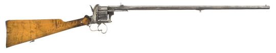 Revolving Rifle    Marked J.Ch[illegible] - probably J. Chaineux - manufactured in Liège c.1850′s~1870′s - no serial number, or serial number worn off.  11~12mm pinfire ten-round cylinder, double action, side loading gate and ejector rod.