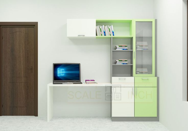 Modular study table with the fashionable color combination. This study table is made up of plywood with laminate finish. Study Unit incorporated with racks, wooden and glass door cabinets. The storage offers ample space to fit in books and required essentials in an organized manner. Make your bedroom look complete by adding quality and flexible furniture.