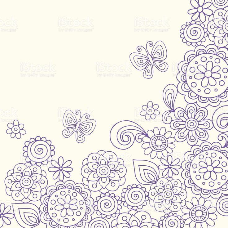 Henna Doodle Flowers Vector royalty-free stock vector art