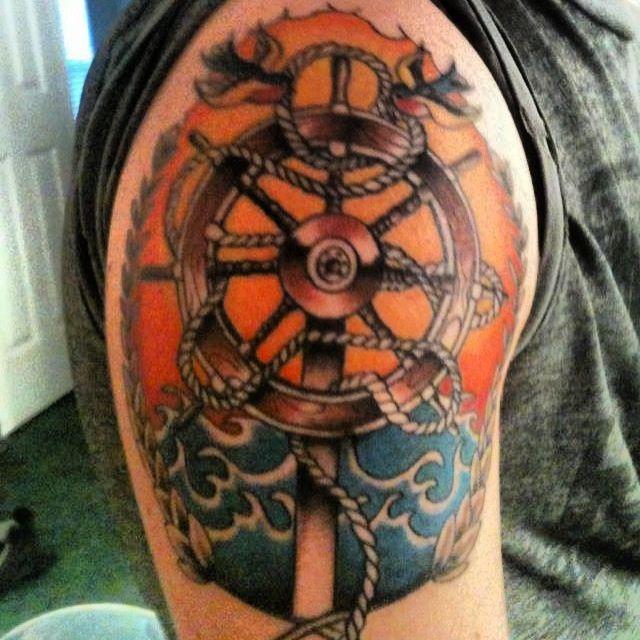 Traditional Ship Wheel Tattoos 46 traditional ship wheel