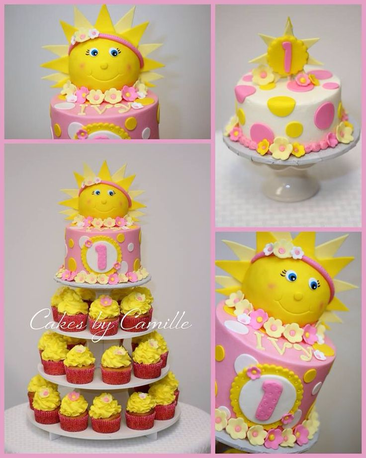 How cute! You are my Sunshine cake with cupcakes & Smash cake!