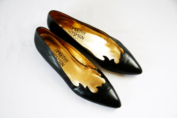 Sz 75 N Cut Out Witchy Black Flats Vtg 80s by VintageReBelle, $36.00