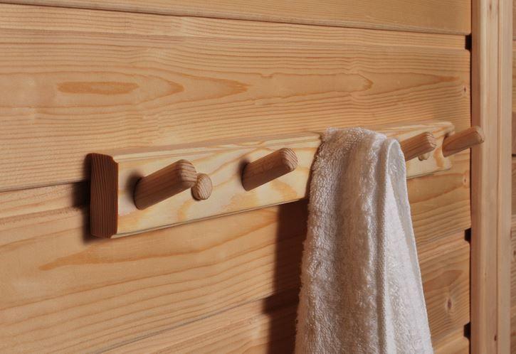 Sauna accessories to your home or to cottage. Practical way to dry your towels.  #SAWO #SAWOsauna #Naulakko #Practical #Käytännölyys #Minimalisti #Sauna
