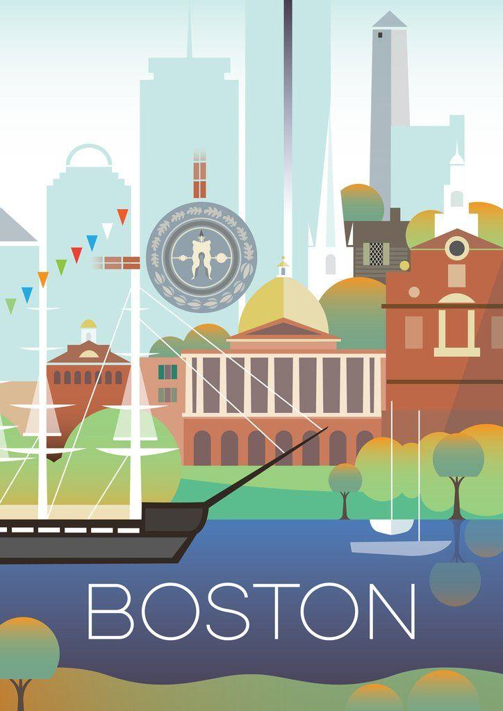 Boston print | Display, Printing and Travel posters