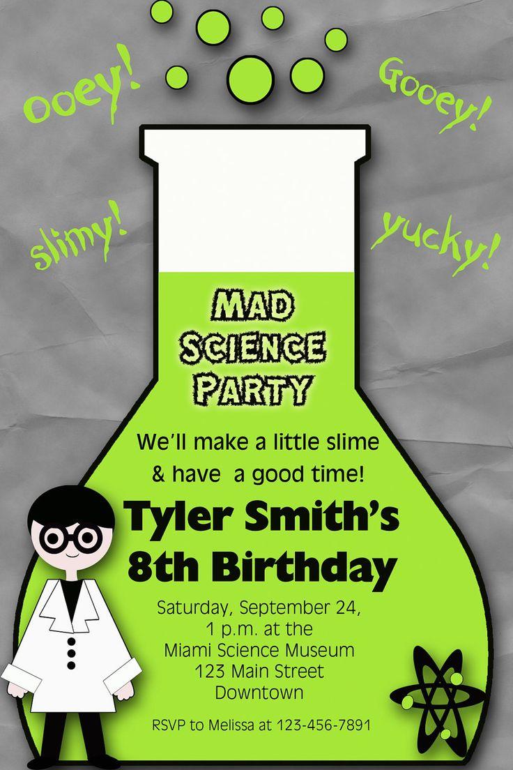 Science birthday paty invitation - mad science party museum birthday party - you print or I print. $10.00, via Etsy.