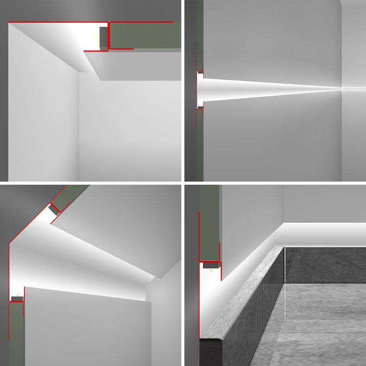 Linear metal profiles house LED tape which provides the ...