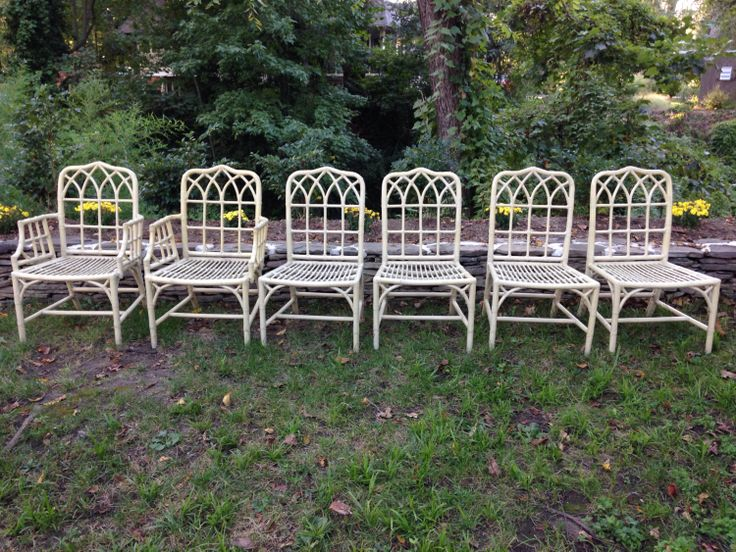 Beautiful Bamboo Gothic Chippendale Vintage Set 6 McGuire Chairs