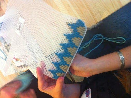Bolso con tapicería de plástico canvas
