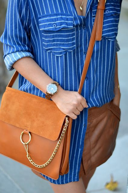 #shein bag / #stripes / #hm shirt #fossil more on www.romilikes.com