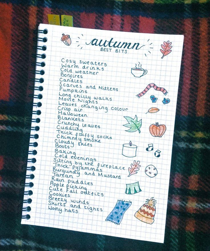 Autumn/Fall Best Bits Bullet Journal Autumn List Bucket List Notebook Fall…