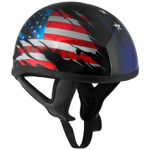 'Stars and Stripes' Black Glossy Motorcycle Skull Cap Half Helmet