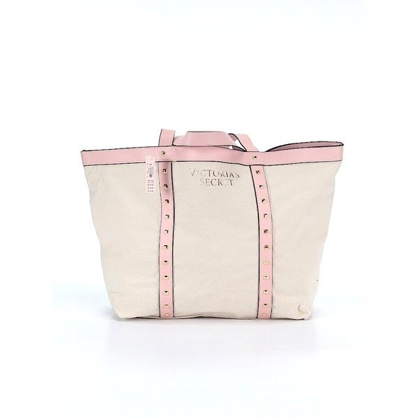Victoria's Secret Tote ($40) ❤ liked on Polyvore featuring bags, handbags, tote bags, beige, beige tote bag, man bag, hand bags, pink purse and victoria secret tote bag