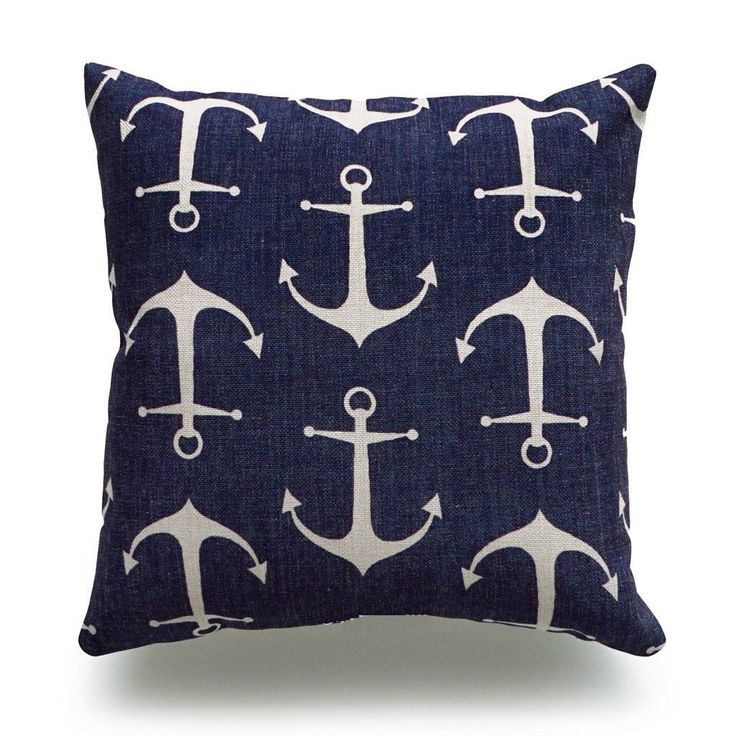 Nautical Throw Pillow Cover, Navy Blue Anchors