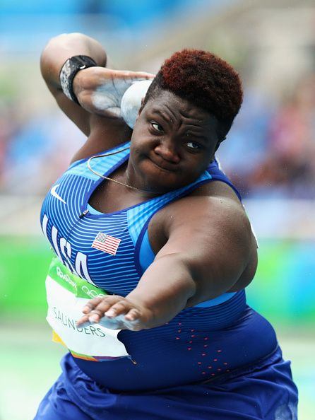 #RIO2016 Raven Saunders of the United States competes in the Women's Shot Put qualification on Day 7 of the Rio 2016 Olympic Games at the Olympic Stadium on...