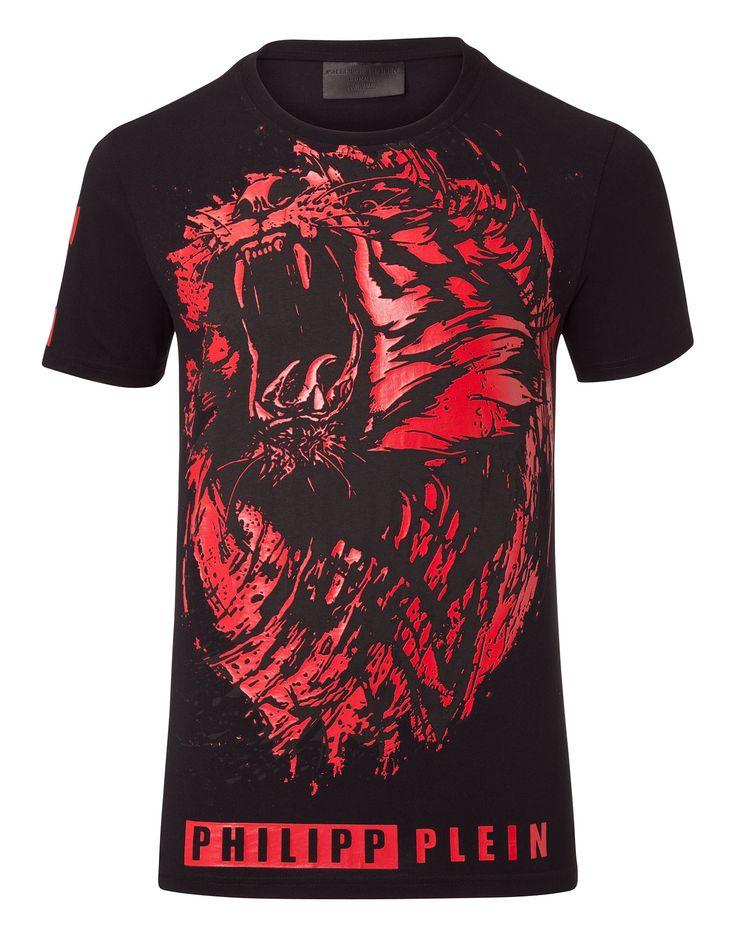 """PHILIPP PLEIN T-SHIRT ROUND NECK SS """"LION ROAR"""". #philippplein #cloth #"""