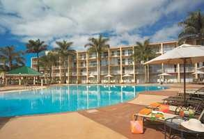 View of hotel from the pool -Lugogo Sun Hotel. Quote and book http://www.south-african-hotels.com/hotels/lugogo-sun-hotel/