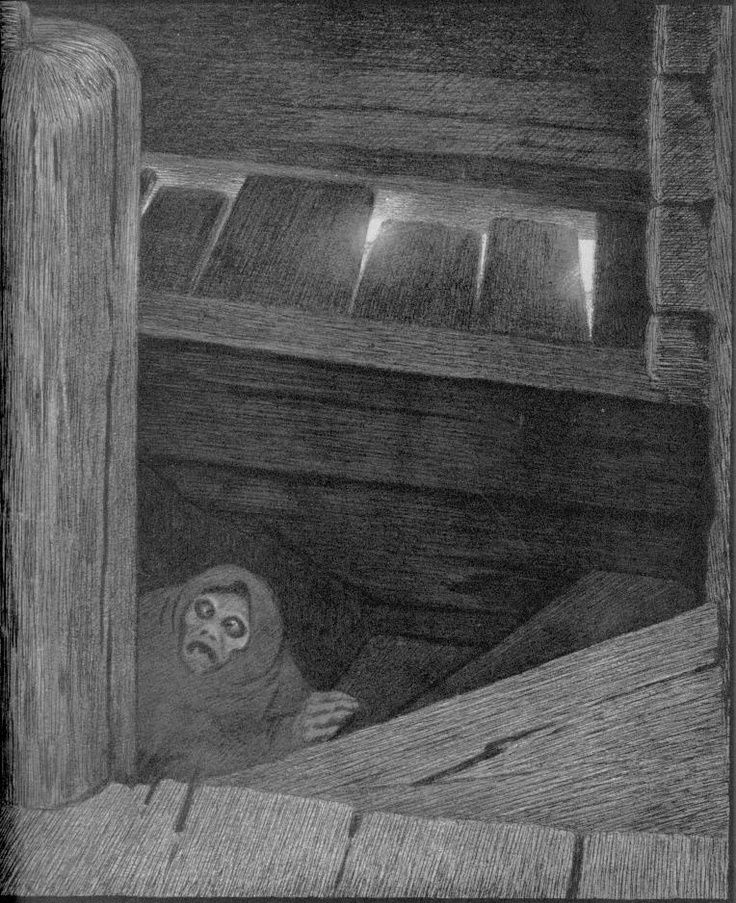 Spook in the cellar... ~ by Theodor Kittelsen -- As kids, when Oct 31st neared, didn't we shrink from fetching those bottled green beans or peaches from the dark, dank basement?!  :)