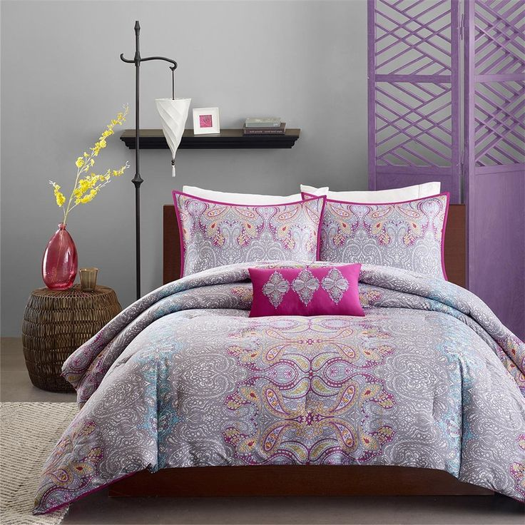 image result for purple grey bedroom decor flowery bedding