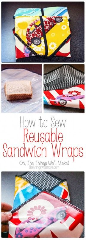 Ditch the plastic baggies and sew some reusable sandwich wraps for traveling with sandwiches and other snacks. These are perfect for kid's lunches.